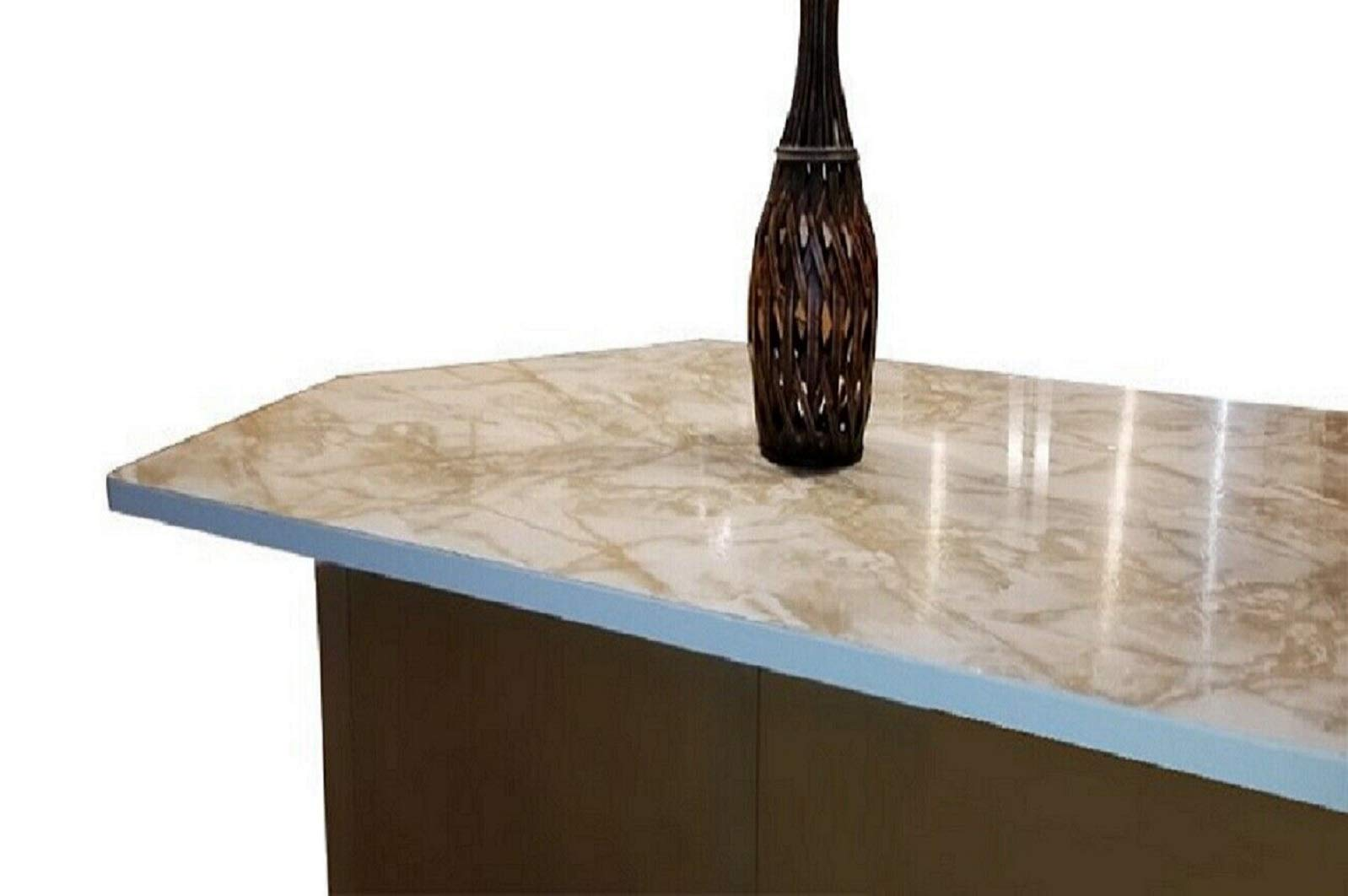 Marble Contact Paper Creme Brulee White Roll Upgrade Kitchen Countertop Backsplash Cabinet Furniture EZ FAUX DECOR Durable Thick Waterproof Heat Resistant Easy to Remove. (36'' X 240'') by EZ FAUX DECOR (Image #1)