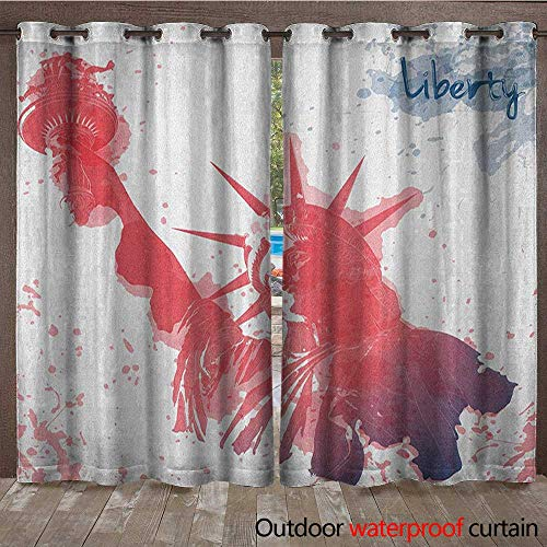 4th of July Patio Gazebo Pergola Cabana Watercolor Lady Liberty Silhouette with Paint Splashes IndependenceW120 x L108 Dark Coral Pale Blue