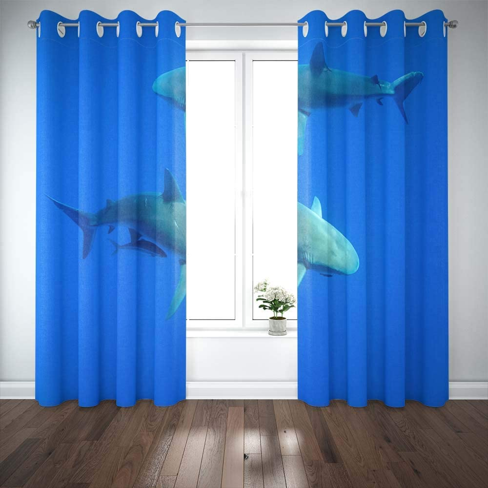 Shorping 52X84 Inch 3D Window Curtains, Privacy Window Curtain Sharks Hawaii Oahu Window Blackout Curtains for Bedroom,2 Pc