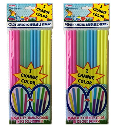 Color Changing (2pk) Easter Straws ()