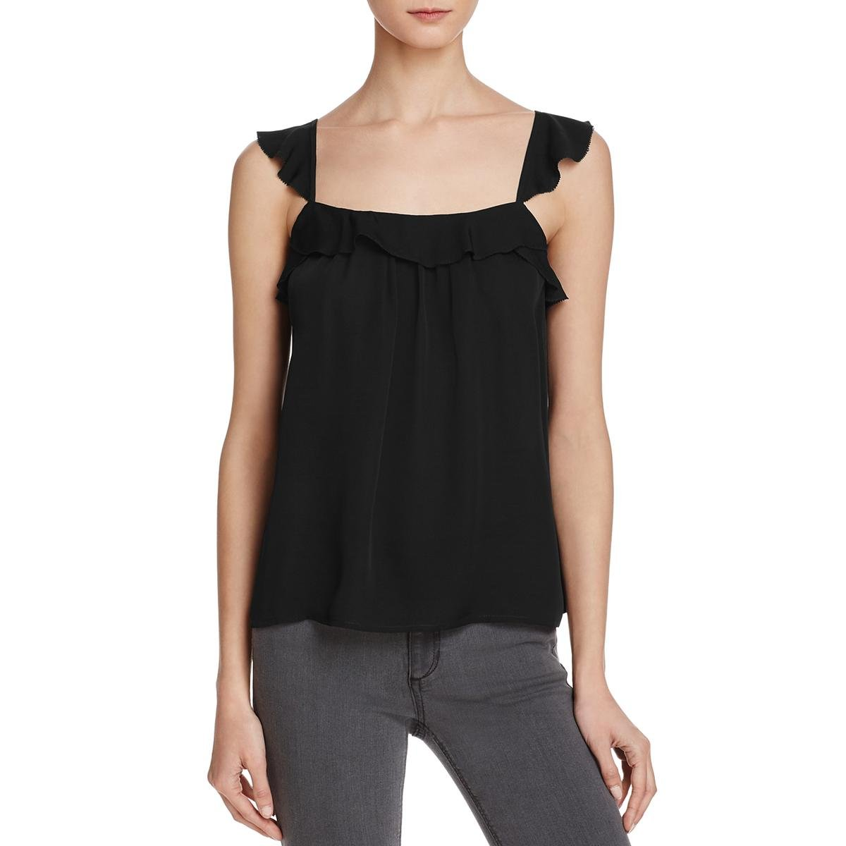 Joie Womens Petal Silk Pleated Camisole Top Black M