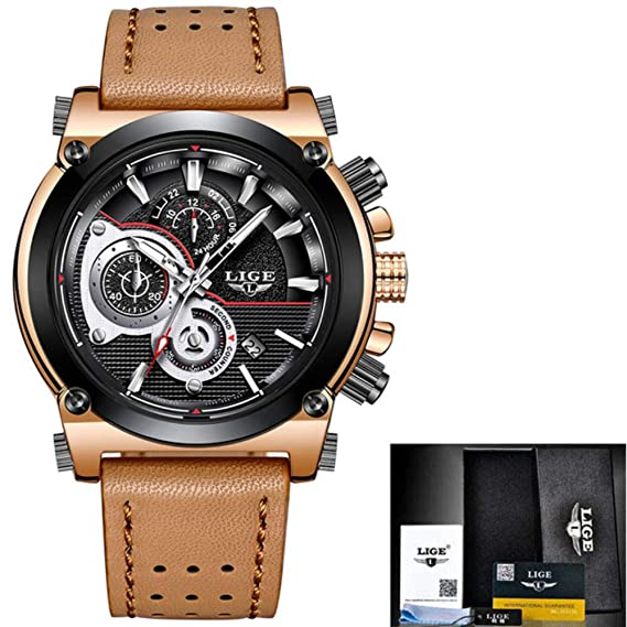 LIGE Mens Watches Top Brand Luxury Quartz Gold Watch Men Casual Leather Military Waterproof Sport Watch