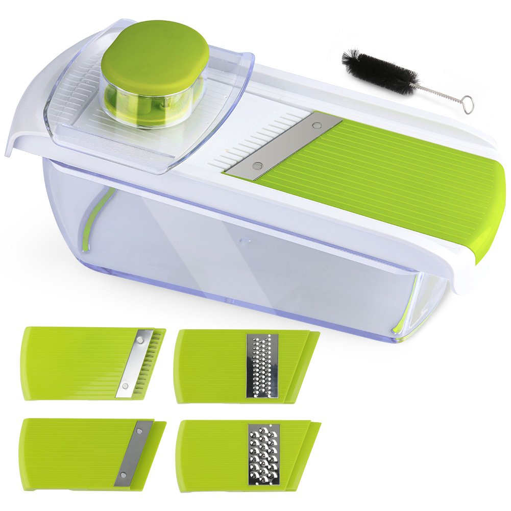 Adjustable Mandoline Food Slicer - 4 Blades - Vegetable Cutter, Cheese Grater, Julienne Vegetable Slicer & Fine Grater - Compact, Veggie Slicer Kitchen Gadget Slicer Dicer, Dishwasher Safe by Chugod (Image #1)