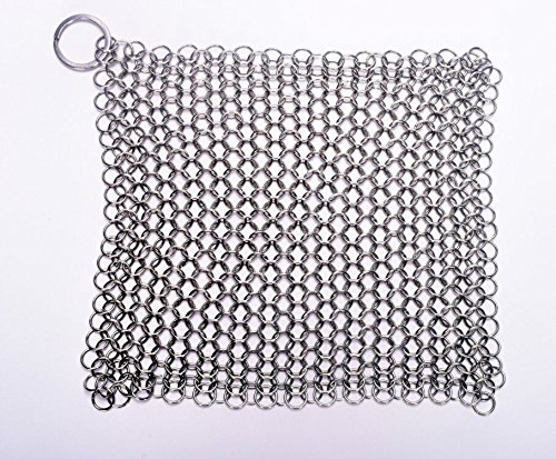 SMYLLS Stainless Steel 316 L Cast Iron Cleaner Chainmail Scrubber for Waffle Iron Pans,Seasoned Pan,Grill - Best Pot Brush (8Ã6 inch)