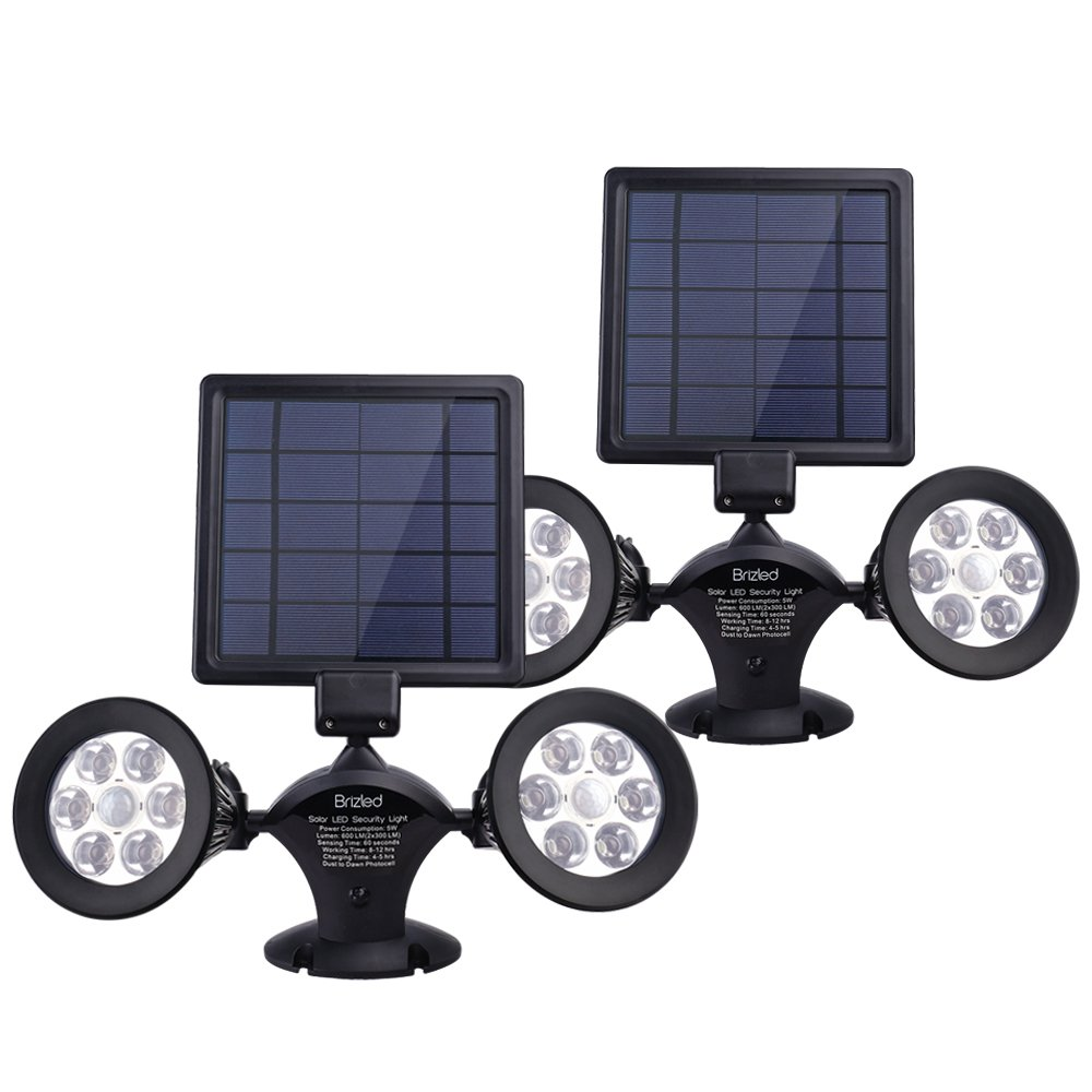 Brizled Motion Sensor Outdoor Lights, Solar Spotlights, 12 LED Outdoor Security Flood Light Dual Head 360 Degree Rotatable, IP65 Fully Weather Resistant for Wall, Garage, Patio and Deck, 2 Pack