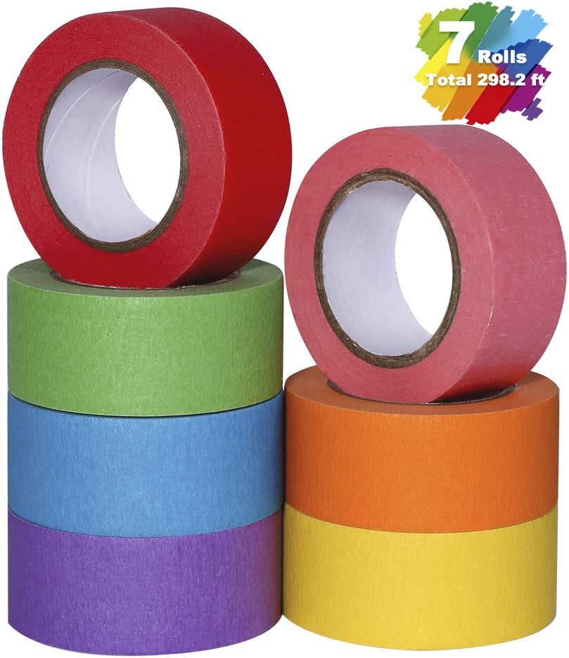 Colored Masking Tape, Arts Painters Tape with Rainbow Colors for Kids Craft Paper Tape Decorative Colorful Teacher Tape for DIY Labeling Coding School Projects 7 Rolls, 1 Inch x 42.6ft