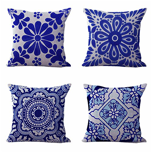 set of 4 cushion covers Mexican Spanish talavera living room decorative ()