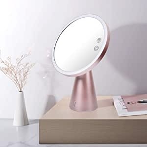 Lighted Makeup Mirror with Bluetooth Speaker, Fascinate Rechargeable LED Mirror Light with 7X Magnification, Adjustable Color & Brightness for Countertop Cosmetic Makeup