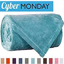 Sonoro Kate Fleece Blanket Soft Warm Fuzzy Plush Throw(60-Inch-by-43-Inch) Lightweight Cozy Bed Couch Blanket,Easy Care,Turquoise