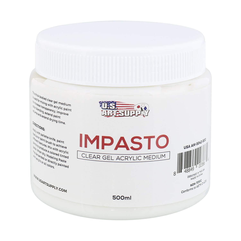 U.S. Art Supply Impasto Clear Gel Acrylic Medium, 500ml Tub AM-5042-500