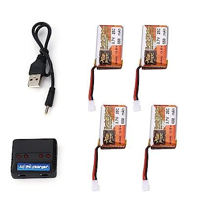 Fannty 4Pcs 3.7V 650mAh 25C 1S batería Lipo con 4 en 1 cargador de ...