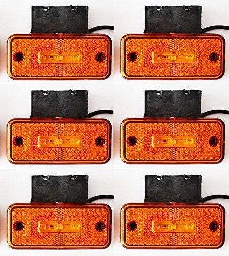 6 X 12 V Orange Ambre 3 LED laté rales Feux de gabarit Supports en caoutchouc pour camion benne Camion caravane Camper Van Bus VNES