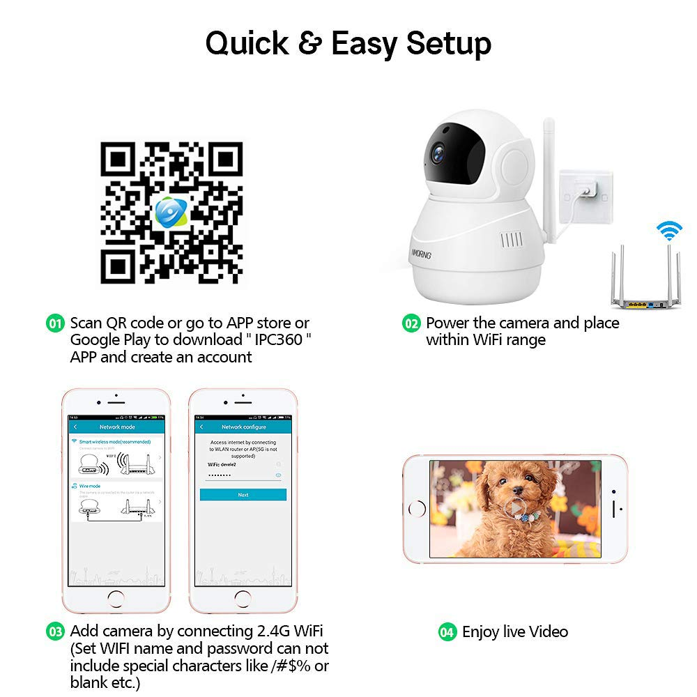 NMORNG 1080P Security WiFi Camera with Night Vision, Two-Way Audio, Motion  Detect Wireless Home Surveillance IP Camera, Baby / Pet Monitor, APP Remote