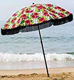 Beach Umbrella, Solana with Fringe, Designed by Beach Brella / 100% UV Sun Protection, Lightweight, Portable & easy to setup in the Sand and secure in the Wind