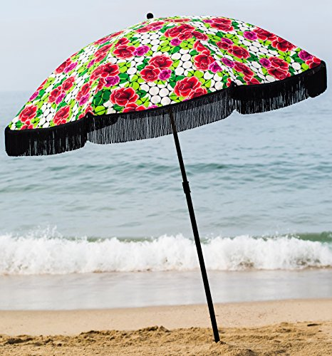 Beach Umbrella For Sand - Best Beach Umbrella Windproof & Portable Sport Umbrella With Fringe, Comes With Denim Beach Umbrella Bag Features Pointed Bottom Sand Anchor & 100% UV Sun Protection - Bahama - 🏖️ FASHIONABLE SUN UMBRELLA - A beach canopy and sun shade that provides 100% UV Sun protection. Vintage designs with beautiful fringes so you stand out on the beach! 🏖️ LIGHTWEIGHT TRAVEL UMBRELLA - weighing less than 5lbs & can be easily carried with denim shoulder bag. A stylish accessories pocket to store essentials like keys, sunscreen, cellphones etc. 🏖️ STURDY DESIGN - A Portable umbrella with strong umbrella base that is windproof for sun shelter. Beach Umbrella with Sand Anchor point for easy beach set up. - shades-parasols, patio-furniture, patio - 61xRDEIo0UL -