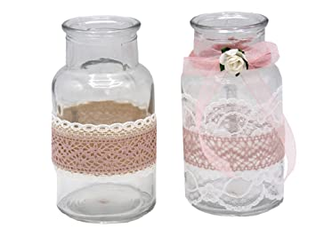 Zauberdeko 2 Vasen Hochzeit Vintage Tischdeko Glaser Spitze Rosa