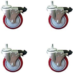 "4 Inch Total Lock Caster - Red Polyurethane Wheel - 1/2""-13 x1-1/2"" Threaded Stem Set of 4"