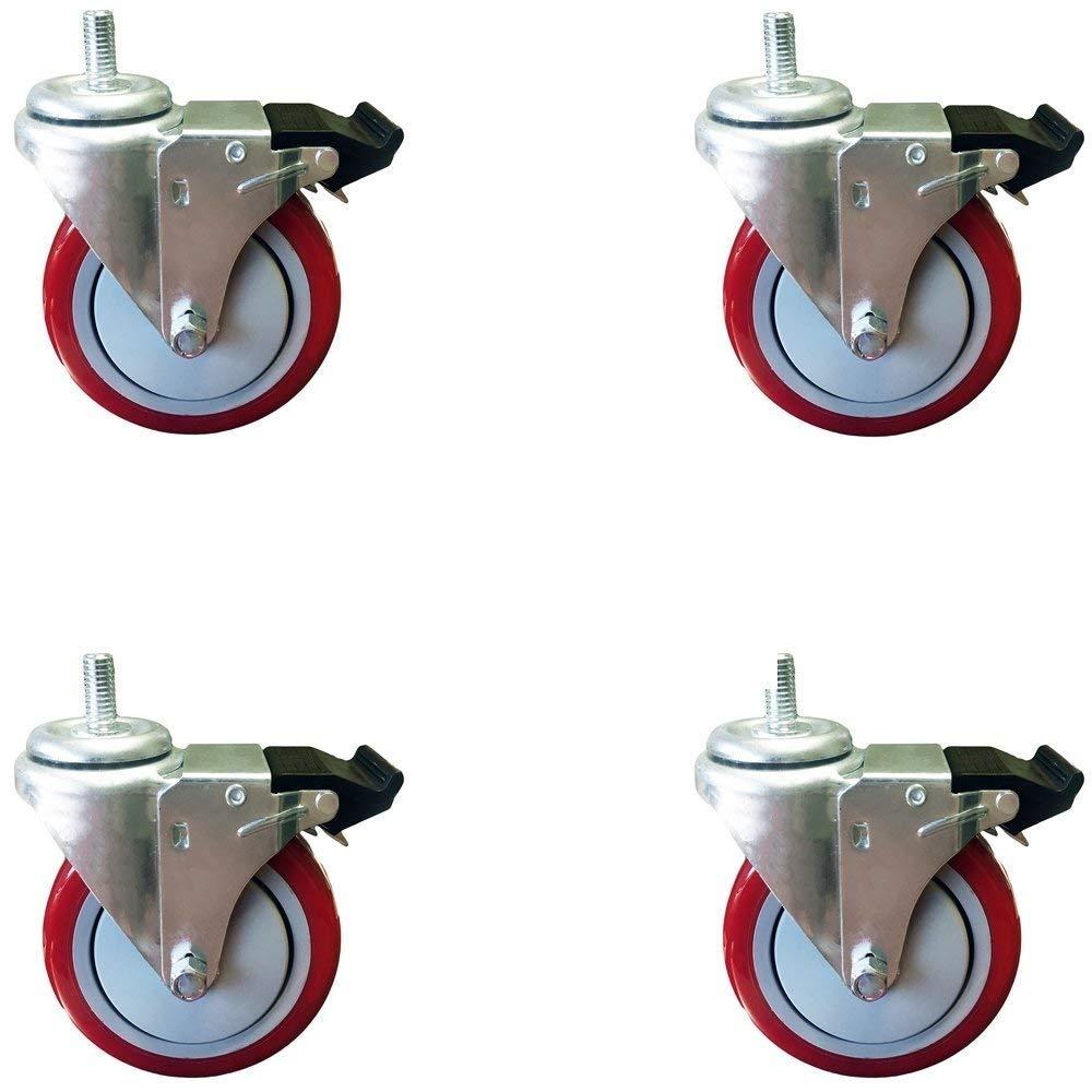 5 Inch Total Lock Caster - Red Polyurethane Wheel - 1/2''-13 x 1-1/2'' Threaded Stem Set of 4