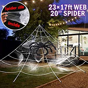 UNGLINGA Giant Yard Halloween Decorations Outdoor Spider Web with 50inch Big Spider and Stretch Cobweb Set Party Outside…