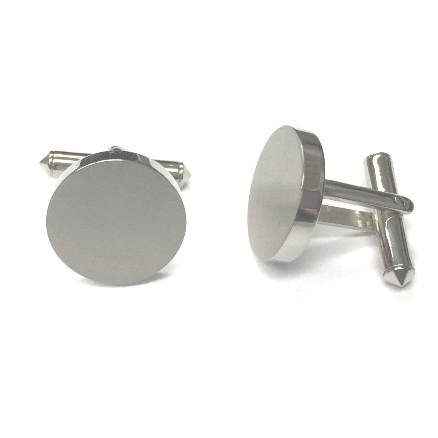 Sleek Round Titanium Cufflink