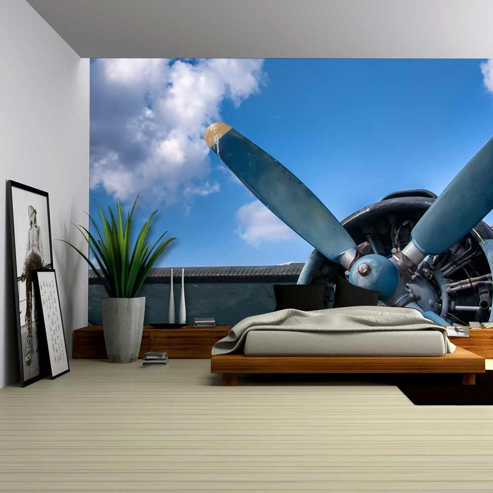 Propeller and Engine of Vintage Airplane Wall Murals Wall26