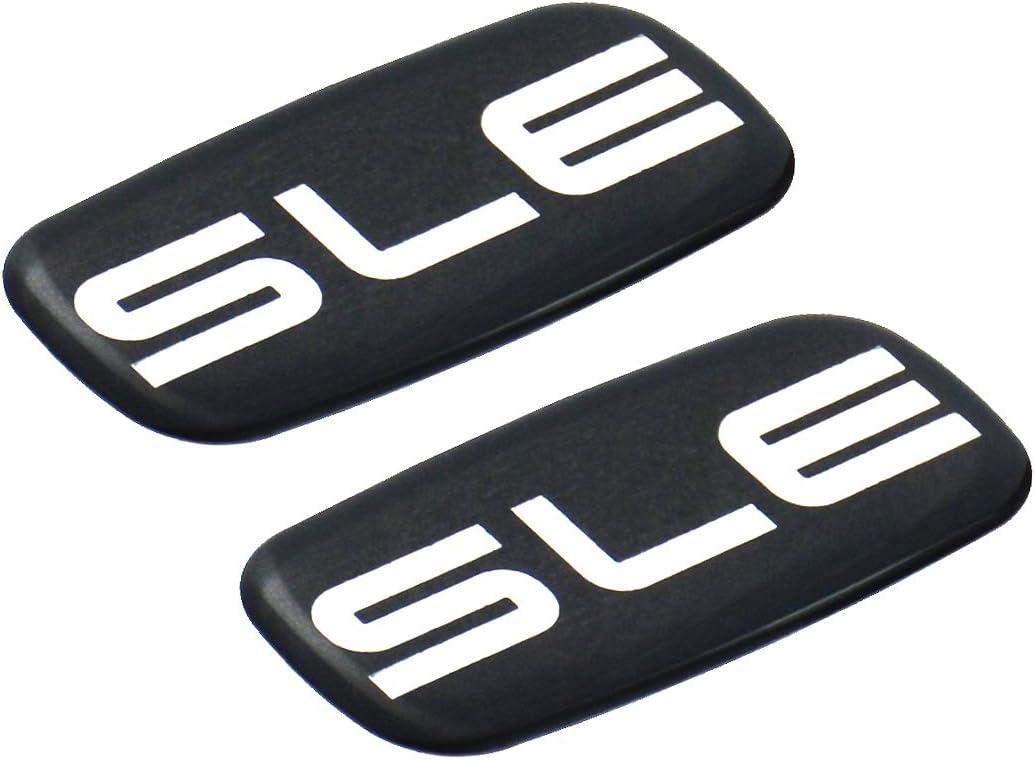 Pair Set of 2 SLE Nameplate Emblem 3D Badge Replacement For GMC Chevrolet Sierra Suburban Yukon 1500 2500 3500 (Chrome/Black)