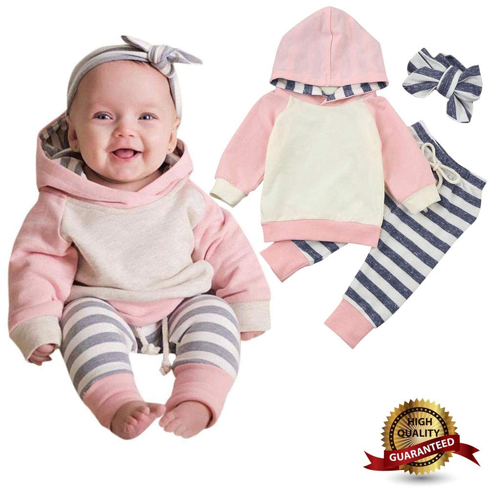 ALLureLove Baby Girl Clothes Baby Girl Outfits Baby Boy Clothes Baby Boy Outfit Long Sleeve Striped Hoodie