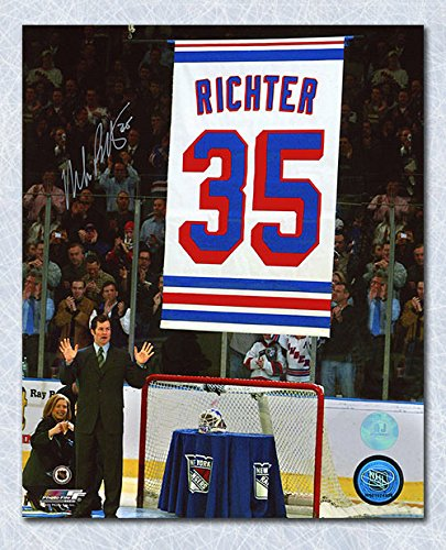 Jersey Retirement Night 16x20 Photo (Mike Richter New York Rangers Autographed Banner Retirement Night 16x20 Photo)
