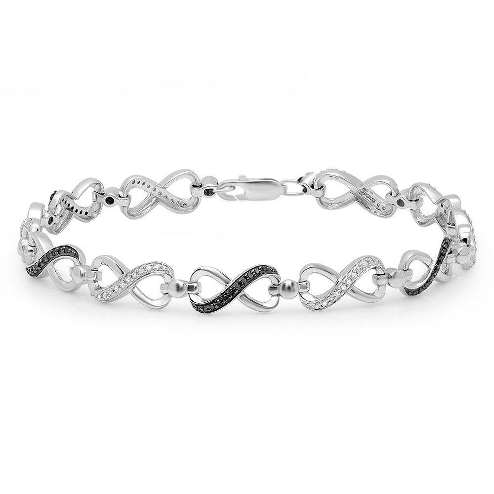 Dazzlingrock Collection 0.40 Carat (ctw) Round Black & White Diamond Ladies Infinity Tennis Link Bracelet, Sterling Silver by Dazzlingrock Collection