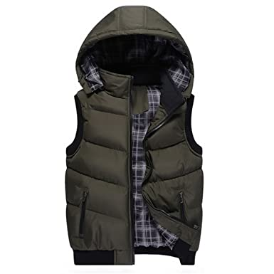 998fb0293b8 Zichhing Men's Winter Vest Thermal Sleeveless Jackets Men Casual ...