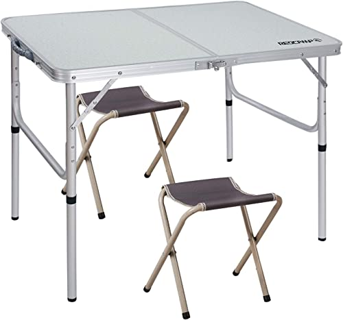 REDCAMP Folding Camping Table Adjustable, Portable Picnic Table with 2 Chairs, Aluminum White 35.4 x23.6 x15 27.6