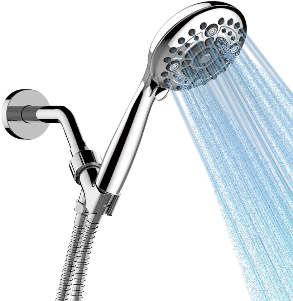 IHAO High Pressure Handheld ShowerHead with Flexible Metal Hose 6 modes Waterfall Powerful Spray Force Anti-clog Rubber Nozzles UPC Certified Enjoy Relax Spa at Home- Contemporary Ø4.8 Inch Chrome