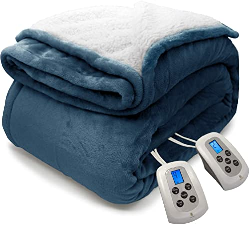 MARQUESS Heated Blanket Micro Plush Sherpa and Reversible Flannel Washable Comfortable Electric Throw Blanket