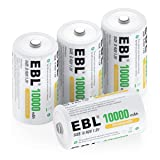 EBL D Size Battery D Cell 10000mAh Huge Capacity