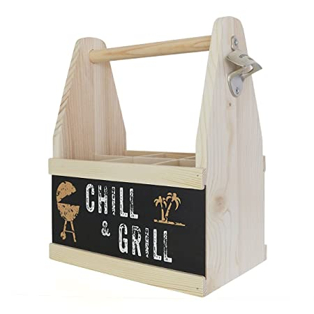 contento beer chill grill caddy six bottle wine rack wood co