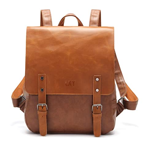 d38541b9b59a Image Unavailable. Image not available for. Color  Vintage Leather Backpack  Laptop Bookbag for Women Men ...