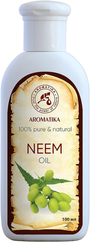 Neem Aceite 100ml - Prensado en Frío - 100% Puro y Natural - Aceite de Semilla de Azadirachta - Cuidados Intensivos para Rostro - Cuerpo - Cabello - Aceite para Cuidado Corporal Neem Oil