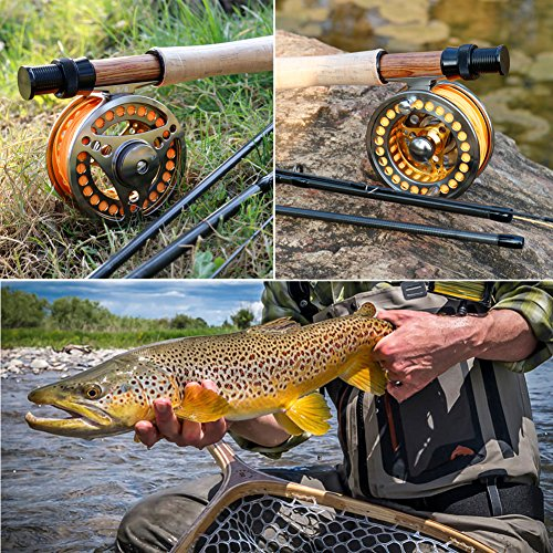 Fly fishing reel. Sougayilang Fly Fishing Reel Large Arbor 2+1 BB with CNC-machined Aluminum Alloy Body and Spool in Fly Reel Sizes 7/8