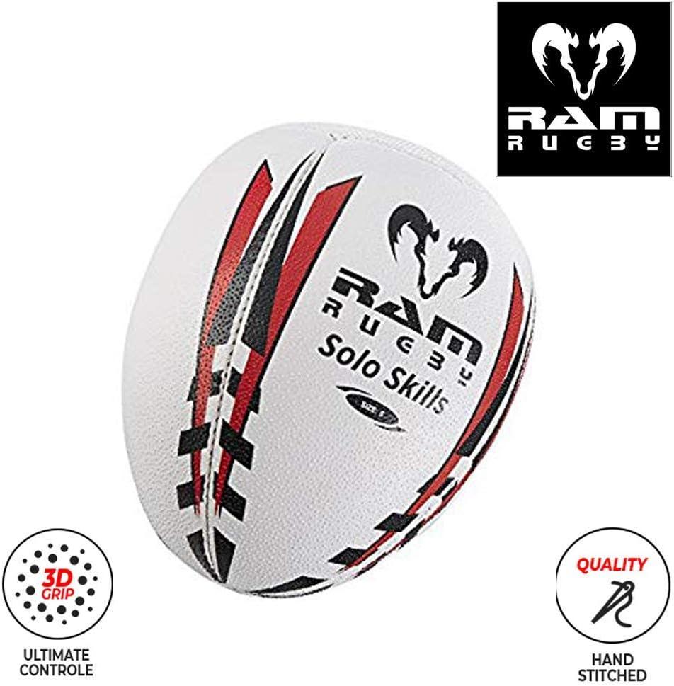 Tallas 5, 4 y 3 Ram Solo Skills Pelota de Rugby para Entrenamiento de Sombras