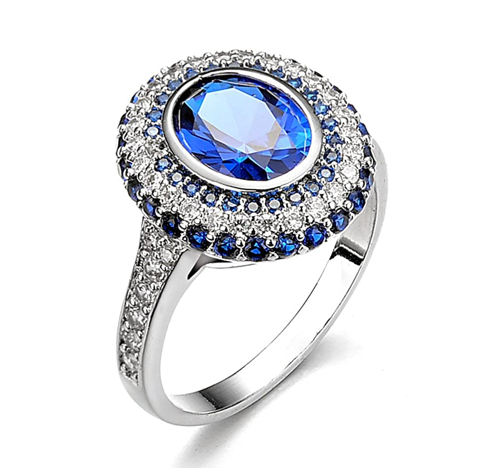 Acefeel Luxulry Retro White Cubic Zirconia and Blue Sapphire Halo Anniversary Wedding Ring R273