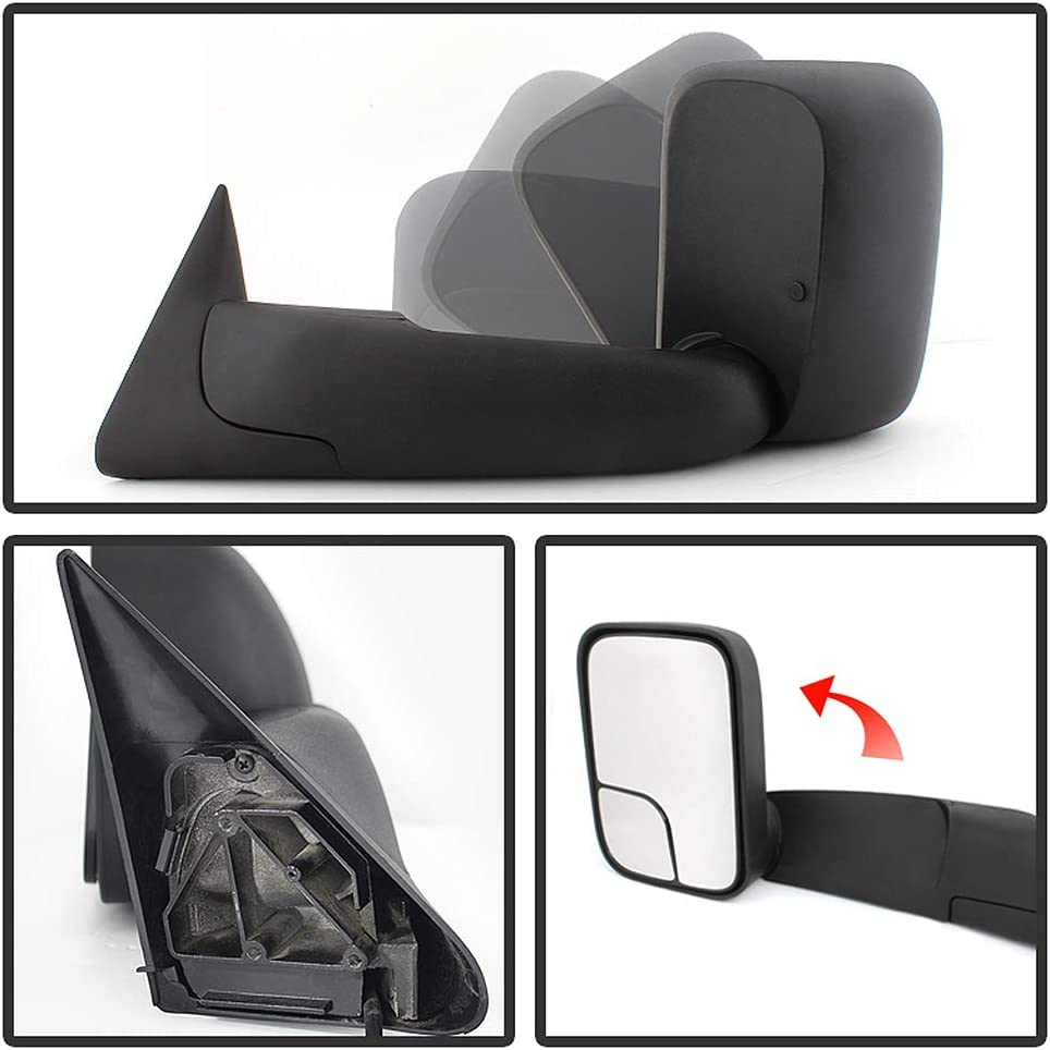 Acanii Telescoping Flip Up MANUAL Towing Mirrors Non Heat For Left ...