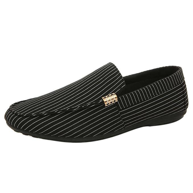 a6e05b4c5fce DENER Men Black Penny Loafers, Stripe Canvas Wide Width Comfortable ...