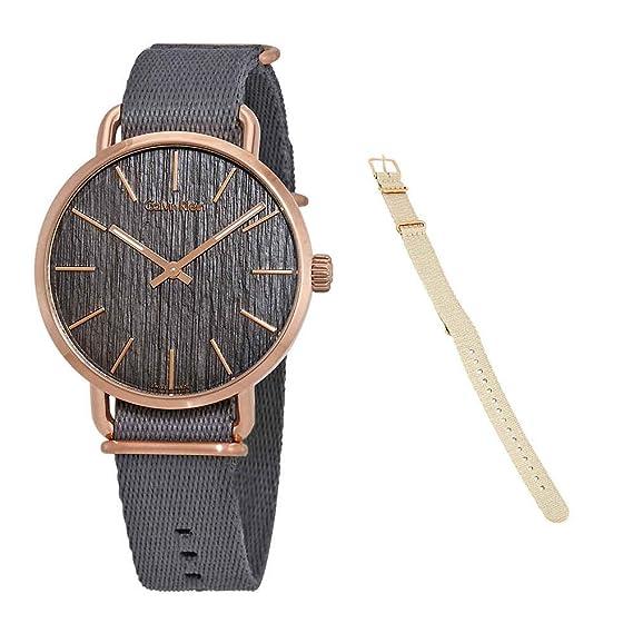 Calvin Klein Reloj Analogico para Hombre de Cuarzo con Correa en Tela K7B216P3: Amazon.es: Relojes