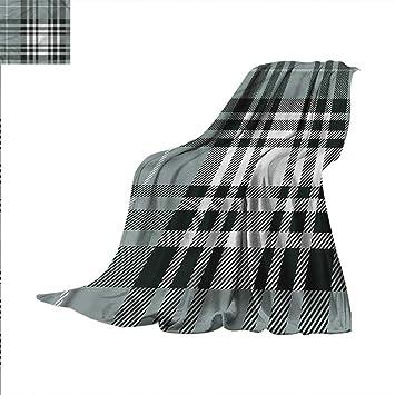 Amazon com: Checkered Weave Pattern Extra Long Blanket Dark