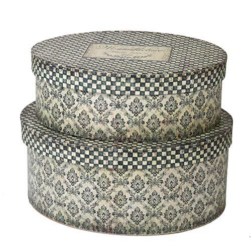 SLPR Decorative Box (Set of 2, Oval Shaped) | Vintage Paperboard Nesting Box Set Decorative Storage Baskets Organizer Bins with Lids Gift Toy Letters Recipes Keepsakes Photos Bin by SLPR