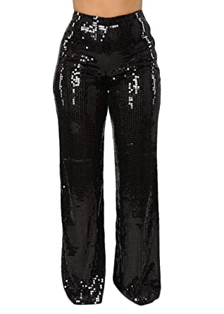 8b1dfb57ef Ohvera Women's Glitter Sequin High Waist Long Wide Leg Palazzo Pants  Trousers