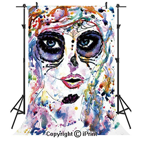 Sugar Skull Decor Photography Backdrops,Halloween Girl with Sugar Skull Makeup Watercolor Painting Style Creepy Decorative,Birthday Party Seamless Photo Studio Booth Background Banner -
