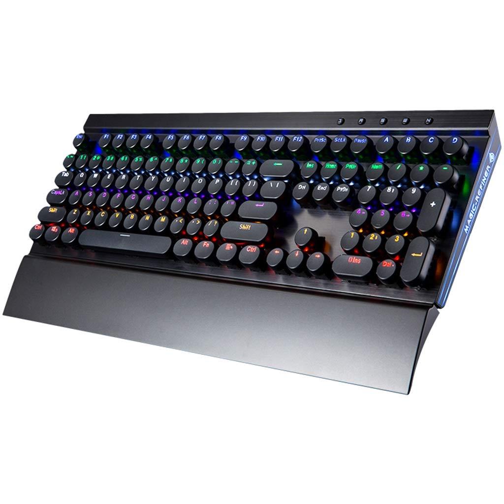 レトロラウンドキーキャップホームタイピング学習バックライトキーボードゲームキーボードグリーンアクシスオフィスビジネスコンピュータノートブックキーボード(パームレスト付き) (色 : A) B07MV2GM7N A
