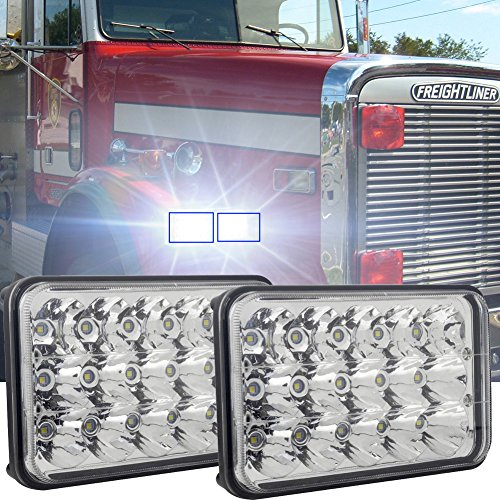 Rectangle 4x6 Inch LED Headlights High Low Beam H4 Plug H4651 H4652 H4656 H4666 H6545 Projector lens for Peterbil Kenworth Freightinger Ford Probe Chevrolet Oldsmobile Cutlass