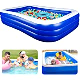 """Inflatable Pool Kiddie Pool, 118"""" x 72"""" x 22"""" Family Swim Center Rectangular Swimming Pools for Kids, Adults, Babies…"""